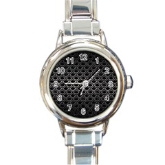 Scales2 Black Marble & Gray Metal 1 Round Italian Charm Watch by trendistuff