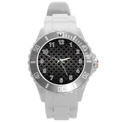 Scales2 Black Marble & Gray Metal 1 Round Plastic Sport Watch (l)