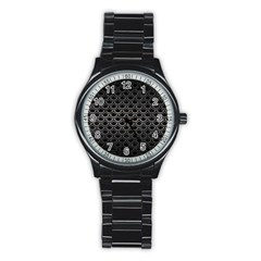 Scales2 Black Marble & Gray Metal 1 Stainless Steel Round Watch by trendistuff