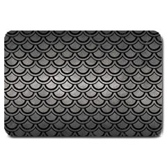 Scales2 Black Marble & Gray Metal 1 (r) Large Doormat  by trendistuff