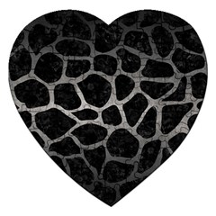 Skin1 Black Marble & Gray Metal 1 (r) Jigsaw Puzzle (heart) by trendistuff