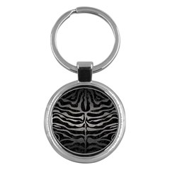 Skin2 Black Marble & Gray Metal 1 Key Chains (round)  by trendistuff