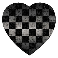 Square1 Black Marble & Gray Metal 1 Jigsaw Puzzle (heart) by trendistuff