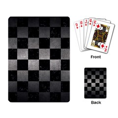 Square1 Black Marble & Gray Metal 1 Playing Card by trendistuff
