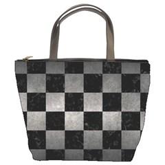 Square1 Black Marble & Gray Metal 1 Bucket Bags by trendistuff