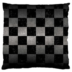Square1 Black Marble & Gray Metal 1 Large Cushion Case (two Sides) by trendistuff