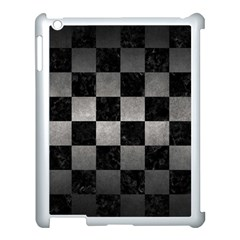 Square1 Black Marble & Gray Metal 1 Apple Ipad 3/4 Case (white) by trendistuff
