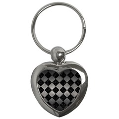 Square2 Black Marble & Gray Metal 1 Key Chains (heart)  by trendistuff