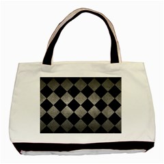 Square2 Black Marble & Gray Metal 1 Basic Tote Bag (two Sides) by trendistuff