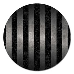 Stripes1 Black Marble & Gray Metal 1 Magnet 5  (round) by trendistuff