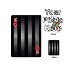 STRIPES1 BLACK MARBLE & GRAY METAL 1 Playing Cards 54 (Mini)  Front - Heart6