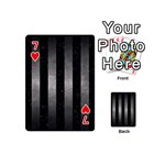 STRIPES1 BLACK MARBLE & GRAY METAL 1 Playing Cards 54 (Mini)  Front - Heart7
