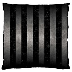 Stripes1 Black Marble & Gray Metal 1 Large Flano Cushion Case (two Sides) by trendistuff