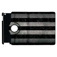 Stripes2 Black Marble & Gray Metal 1 Apple Ipad 2 Flip 360 Case by trendistuff