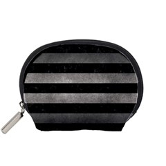 Stripes2 Black Marble & Gray Metal 1 Accessory Pouches (small)  by trendistuff
