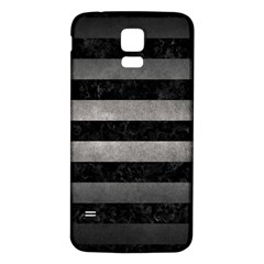 Stripes2 Black Marble & Gray Metal 1 Samsung Galaxy S5 Back Case (white) by trendistuff