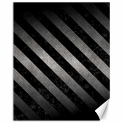 Stripes3 Black Marble & Gray Metal 1 (r) Canvas 11  X 14   by trendistuff
