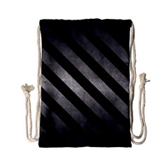 Stripes3 Black Marble & Gray Metal 1 (r) Drawstring Bag (small) by trendistuff