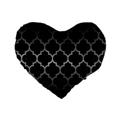 Tile1 Black Marble & Gray Metal 1 Standard 16  Premium Flano Heart Shape Cushions by trendistuff