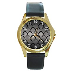 Tile1 Black Marble & Gray Metal 1 (r) Round Gold Metal Watch