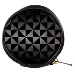 Triangle1 Black Marble & Gray Metal 1 Mini Makeup Bags by trendistuff