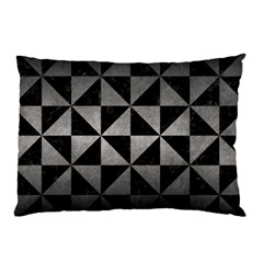 Triangle1 Black Marble & Gray Metal 1 Pillow Case (two Sides) by trendistuff
