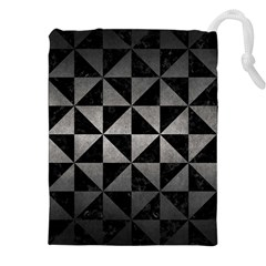 Triangle1 Black Marble & Gray Metal 1 Drawstring Pouches (xxl) by trendistuff