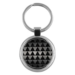 Triangle2 Black Marble & Gray Metal 1 Key Chains (round)  by trendistuff