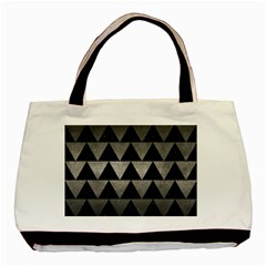 Triangle2 Black Marble & Gray Metal 1 Basic Tote Bag by trendistuff