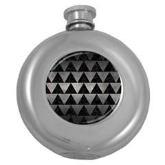 Triangle2 Black Marble & Gray Metal 1 Round Hip Flask (5 Oz) by trendistuff