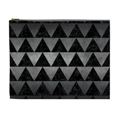Triangle2 Black Marble & Gray Metal 1 Cosmetic Bag (xl) by trendistuff