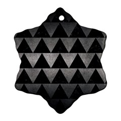 Triangle2 Black Marble & Gray Metal 1 Ornament (snowflake) by trendistuff