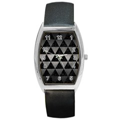 Triangle3 Black Marble & Gray Metal 1 Barrel Style Metal Watch by trendistuff