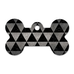 Triangle3 Black Marble & Gray Metal 1 Dog Tag Bone (two Sides) by trendistuff