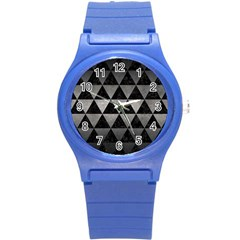 Triangle3 Black Marble & Gray Metal 1 Round Plastic Sport Watch (s) by trendistuff