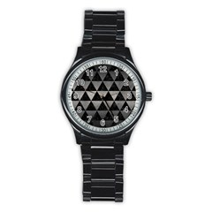 Triangle3 Black Marble & Gray Metal 1 Stainless Steel Round Watch by trendistuff