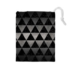Triangle3 Black Marble & Gray Metal 1 Drawstring Pouches (large)  by trendistuff