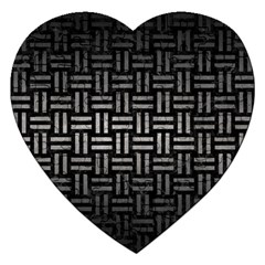 Woven1 Black Marble & Gray Metal 1 Jigsaw Puzzle (heart) by trendistuff