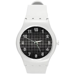 Woven1 Black Marble & Gray Metal 1 Round Plastic Sport Watch (m) by trendistuff