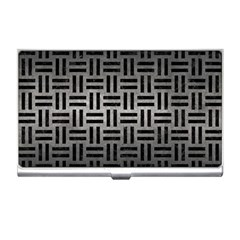 Woven1 Black Marble & Gray Metal 1 (r) Business Card Holders by trendistuff