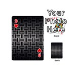 WOVEN1 BLACK MARBLE & GRAY METAL 1 (R) Playing Cards 54 (Mini)  Front - Heart9