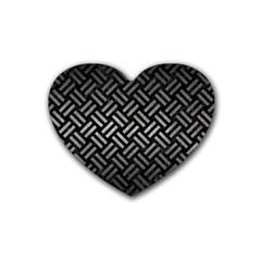 Woven2 Black Marble & Gray Metal 1 Heart Coaster (4 Pack)  by trendistuff