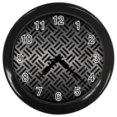 Woven2 Black Marble & Gray Metal 1 (r) Wall Clocks (black) by trendistuff