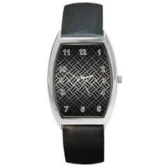 Woven2 Black Marble & Gray Metal 1 (r) Barrel Style Metal Watch by trendistuff