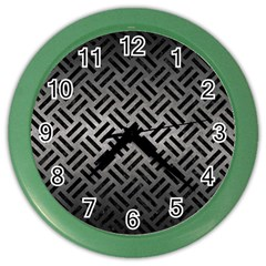 Woven2 Black Marble & Gray Metal 1 (r) Color Wall Clocks by trendistuff