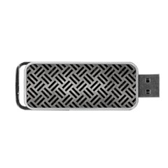 Woven2 Black Marble & Gray Metal 1 (r) Portable Usb Flash (one Side) by trendistuff