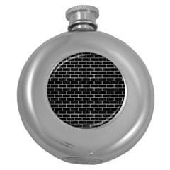 Brick1 Black Marble & Gray Metal 2 Round Hip Flask (5 Oz) by trendistuff