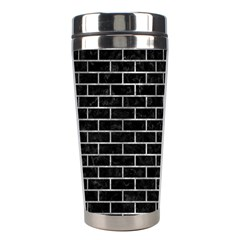 Brick1 Black Marble & Gray Metal 2 Stainless Steel Travel Tumblers by trendistuff