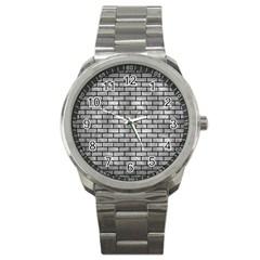 Brick1 Black Marble & Gray Metal 2 (r) Sport Metal Watch by trendistuff