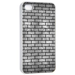 Brick1 Black Marble & Gray Metal 2 (r) Apple Iphone 4/4s Seamless Case (white) by trendistuff